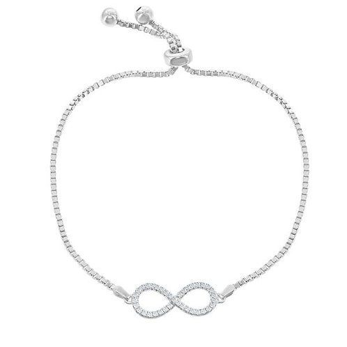 Sterling Silver Infinity Style Adjustable Bracelet CSB-T-7298