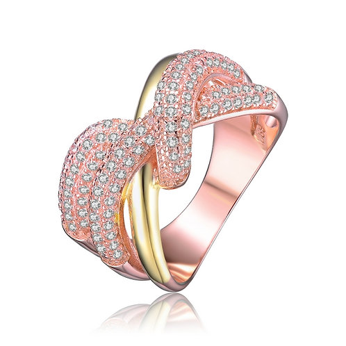 Crossover Rose/Yellow Toned Pave` Style Ring CSR-R2453