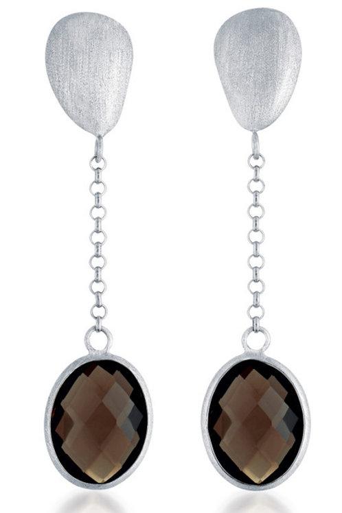 Rhodium Overlay Genuine Smoky Quartz Drop Earrings GE1402-DSQ-RP