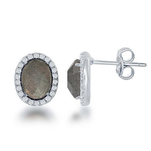 Sterling Silver Oval Green Labradorite Stud Earrings CL-D-6188