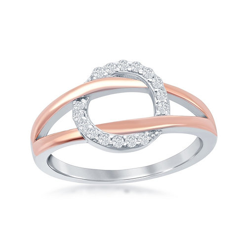 Sterling Silver Two-Tone Rose Gold Plated Band Micro Pave Cricle Ring CL-W-2036
