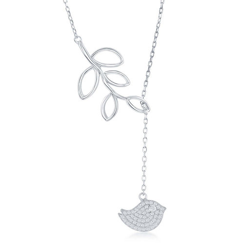 Sterling Silver Open Leaf with Micro Pave Bird 'Y' Necklace CL-M-5879