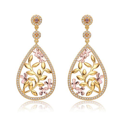 Sterling Rose/YellowTear Drop Garland Earrings TCE- EAR2913