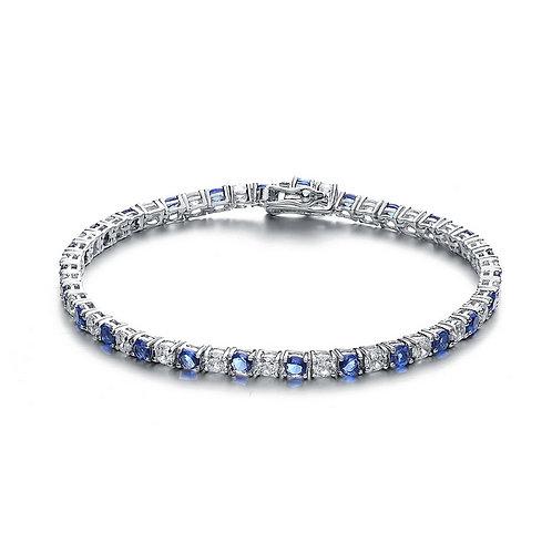 4mm SS/ Platinum Plated Sapphire Style Tennis Bracelet TCB-BR780-4-S