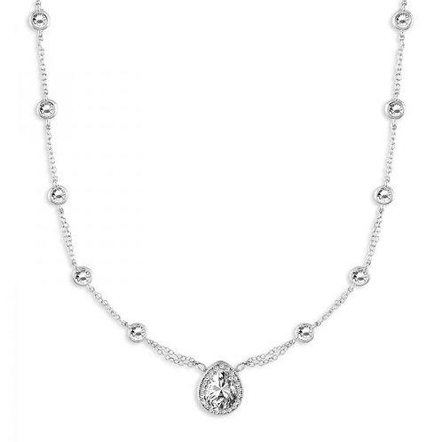 CZ NECKLACE Pear Shape Stone halo Set M-4190