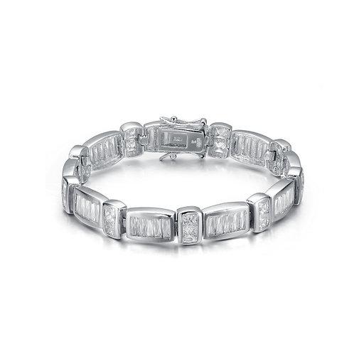 Sterling Silver Cubic Zirconia Bar Bracelet BR3036