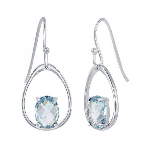 Sterling Silver Open Blue Topaz Earrings CSE-D-7049