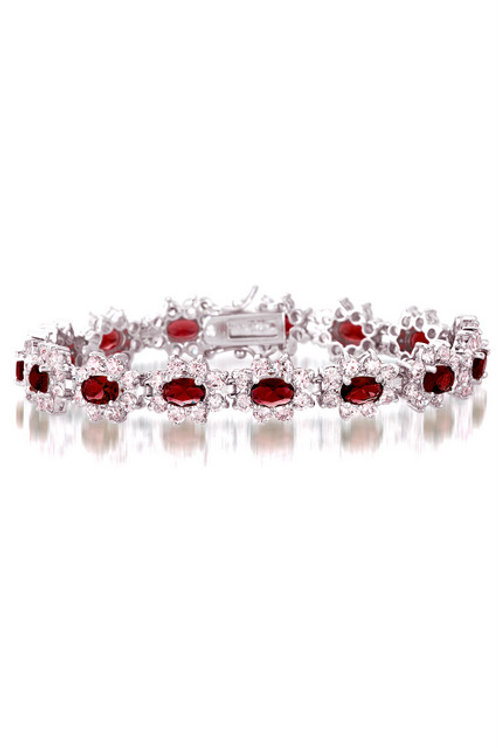 Classic Cluster Halo Style Ruby Bracelet TB-BR799-R