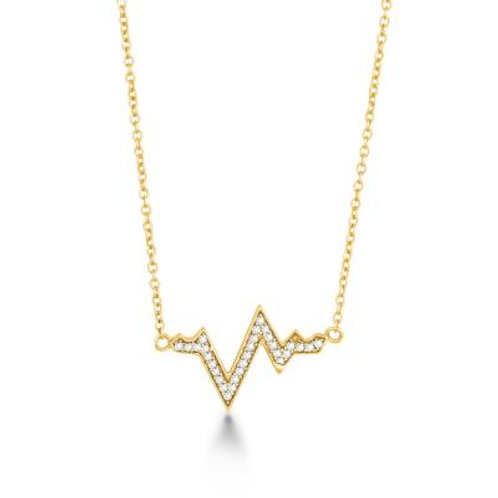 Sterling Silver Gold-Plated Heartbeat Necklace CSN-M-4886