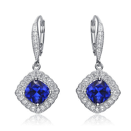 Sterling Silver Sapphire Style Drop Earrings TCE-GEAR3094-S