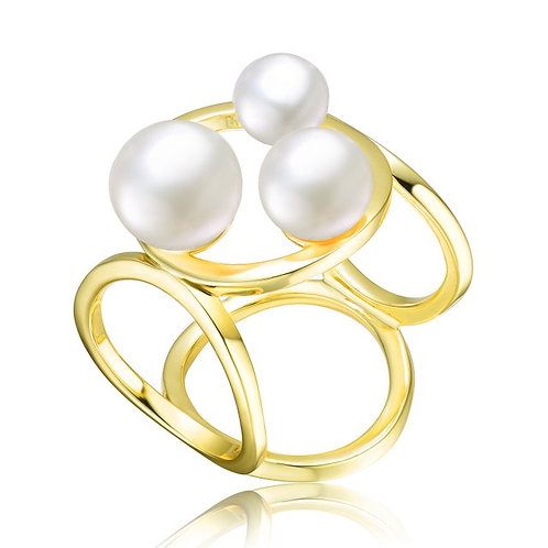 Sterling Silver G/P Geometric Ring With 6mm Pearls CSR-FPR9554-GP
