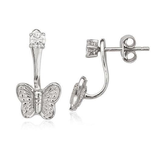 Sterling Silver Peek-A-Boo Butterfly Earrings CSE-D-5568