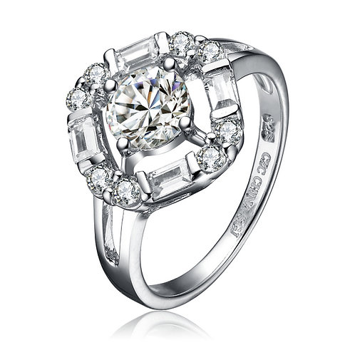 Sterling Silver Cubic Zirconia Suspended Solitaire Ring
