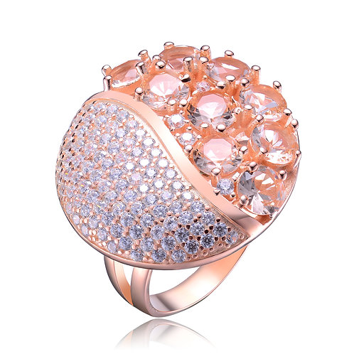 Rose Gold Plated Morganite/Pave` Style Ring TCSR-R9984-M-ROSE