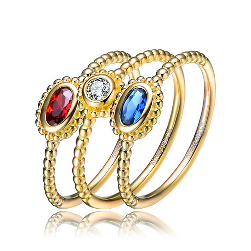 Multi stone 18k Gold Overlay Stackable Rings CSR-R9929