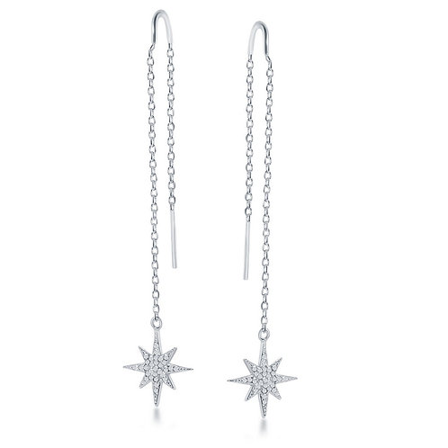 Sterling Silver Micro Pave Star w/ Chain & Hanging Earrings CL-D-6779