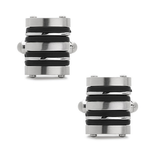 Stainless Steel Black Rubber Striped Cuff Links CL-SC-2000