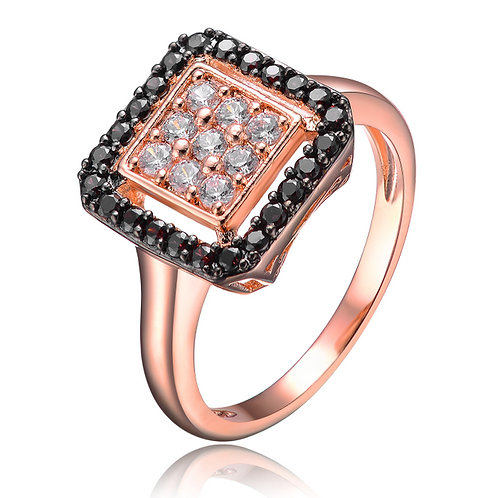 Rose Toned Square Chocolate & White Stone Ring R2415