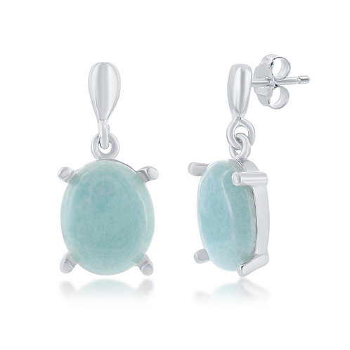 Sterling Silver Four-Prong Oval Larimar Dangle Earrings CL-D-7029