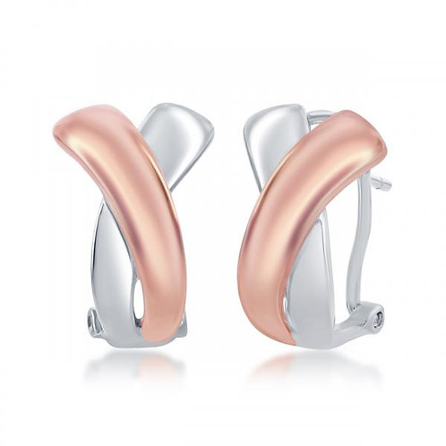Sterling Silver / Rose Gold Plated Awareness Ribbon Earrings CSE-A-2532
