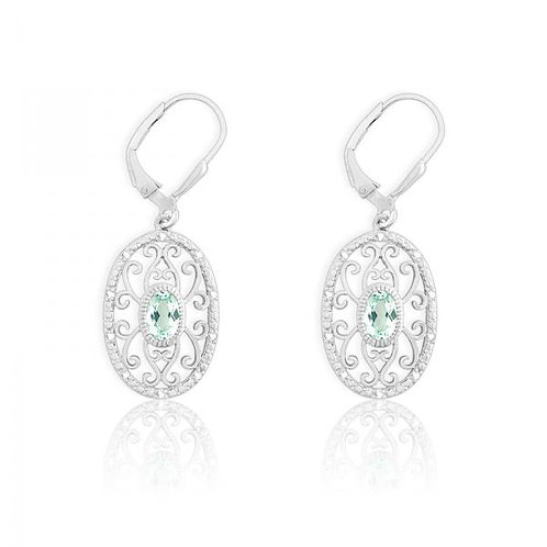 DIAMONDS W/ CENTER GREEN QUARTZ OVAL EARR D-5122