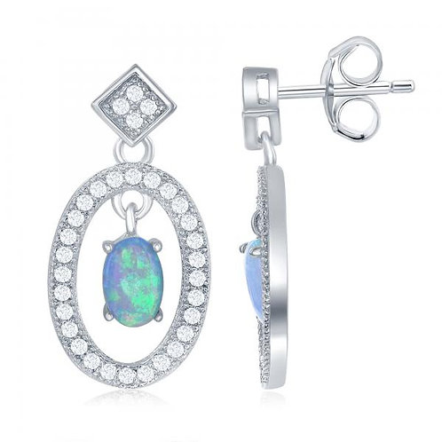 Sterling Silver Open Oval with Center Opal Earrings TCSE-D-6537