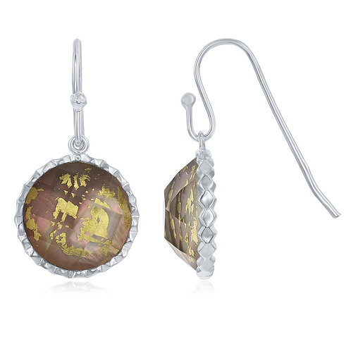 Sterling Silver Round Abalone MOP with Gold Specs Doublet Earrings CL-D-6543