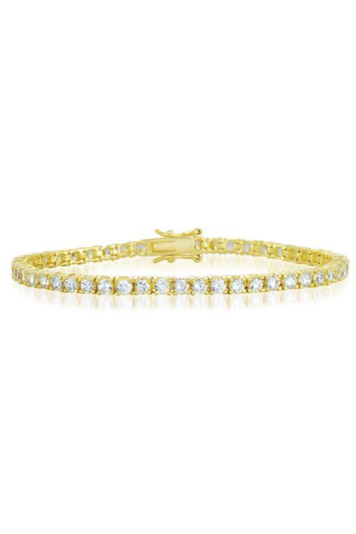 C.Z. Sterling Silver Gold Plated Tennis Bracelet 3mm