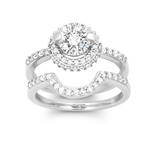 Sterling Silver Halo Style Engagement and Wedding Ring Set TR-W-9899
