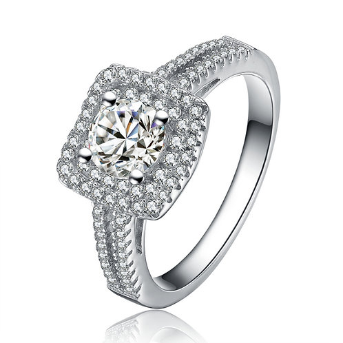 Sterling Silver Cubic Zirconia Halo Radiant Cut Ring R1058