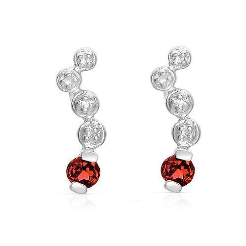 Sterling Silver Genuine Ruby Bezel Set Earrings CSE-GE5112