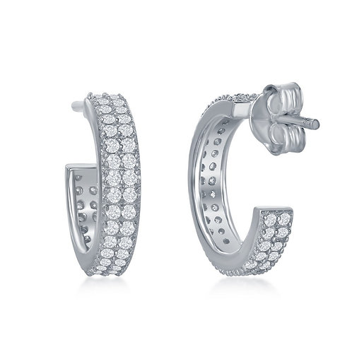 Sterling Silver Micro Pave 15mm Double Row Hoop Earrings CL-D-6088