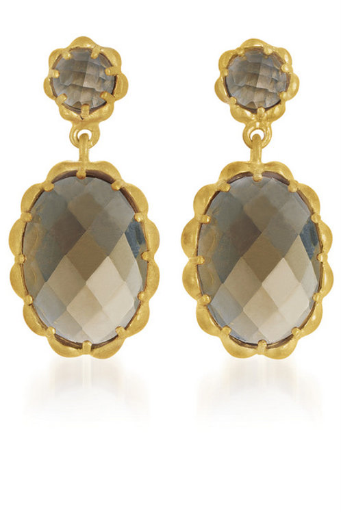 Gold Overlay Smoky Topaz Stone Drop Earrings CSE-GE4534-SQ