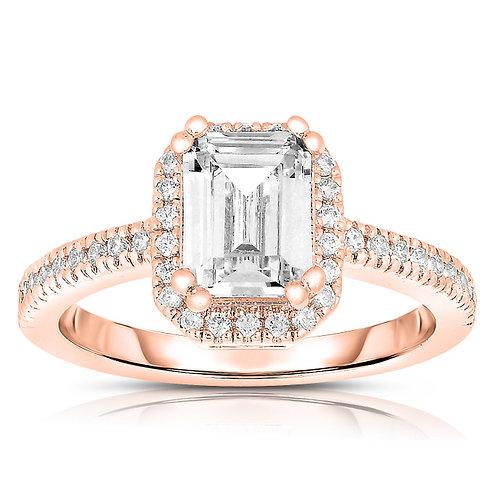 C.Z. Sterling Silver Asscher-cut Cubic Zirconia Ring R3051-ROSE