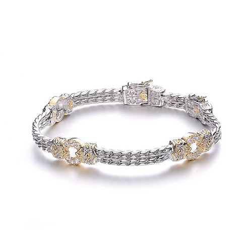 Two Tone Buckle Design Bracelet CSB-BRB1007