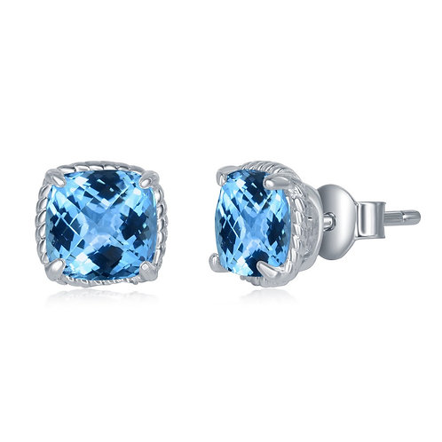 Sterling Silver 6MM Square Cushion-Cut Blue Topaz Earrings CL-D-6579