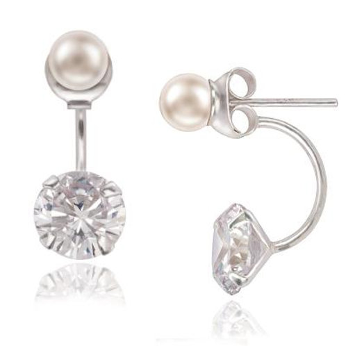 Sterling Silver 5mm Pearl Front with 8mm Back Earrings CSE-D-5539