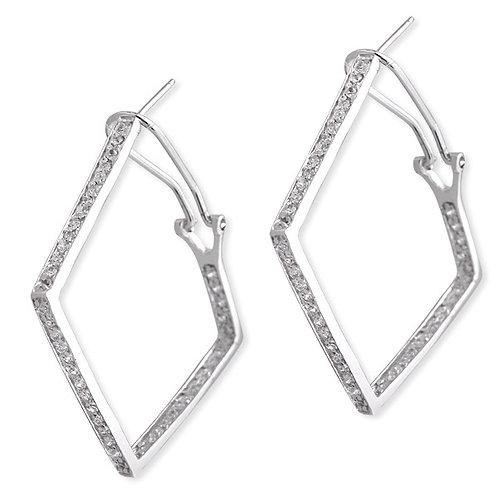 C.Z. Sterling Silver Rhodium Plated Diamond Shape Hoop Earrings