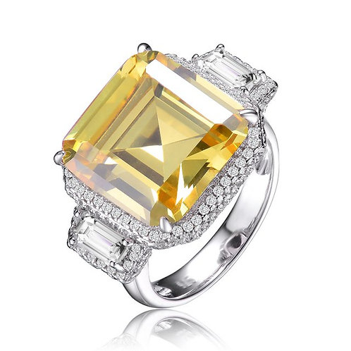 5ct. Sterling Silver Platinum Plated Asscher Cut Stone Ring TR-R9786-Y