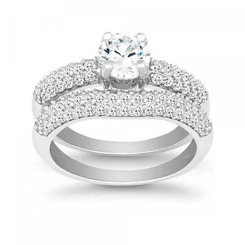 STERLING SILVER CZ ENGAGEMENT RING SET W-9897