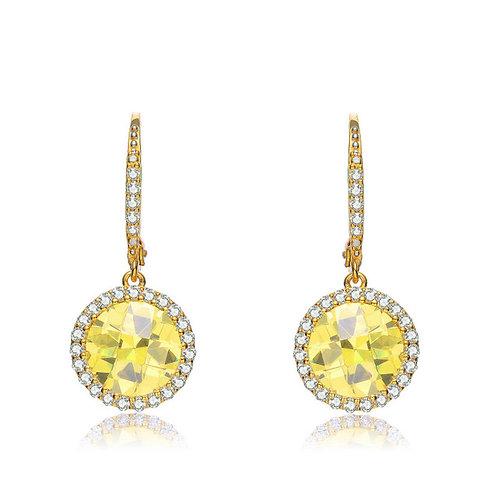 Sterling Silver Yellow Toned Canary Stone Drop Earrings TCE-EAR3136-Y-GP