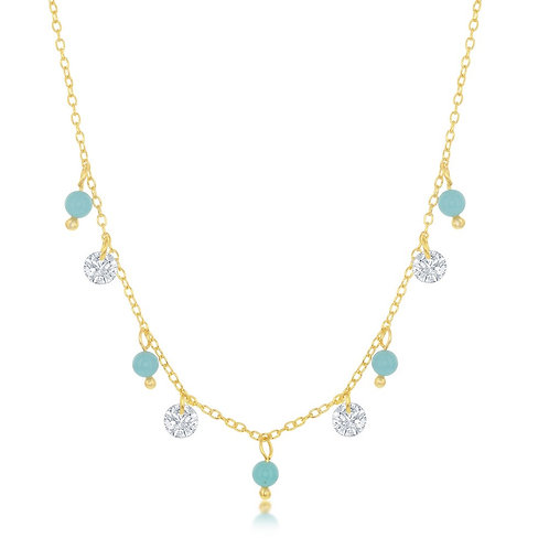 Sterling Silver Gold Plated Alternating Created Turquoise and Necklace CL-M-6294