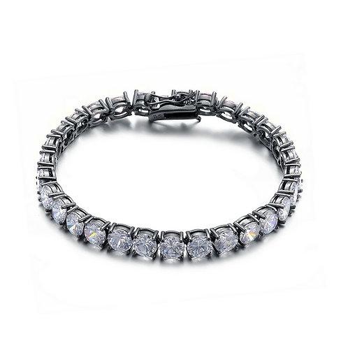 Sterling Silver Circle Cubic Zirconia Bracelet  BR2037-B