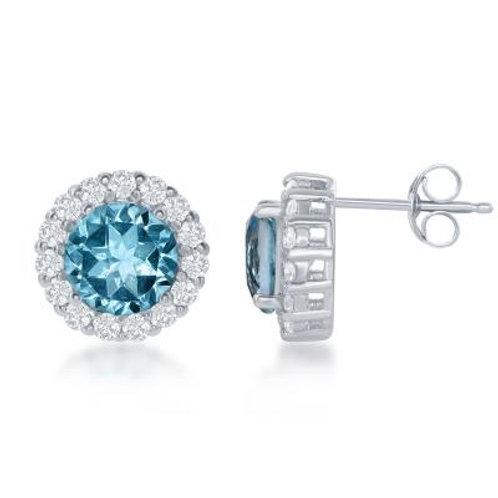 Stunning Blue Topaz Halo Style Stud Earrings TCE-D-6404