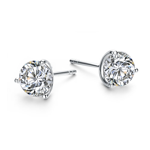 7mm STUDS 3 Prong Martini Style EarringsTCE-EAR600-7MM-M