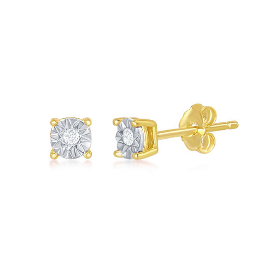 Sterling Silver GP 4MM with Center Diamond Accent Stud Earrings CL-D-6393-GP