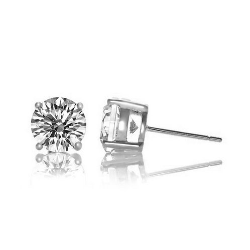 Sterling Silver Rhodium Plated .50tcw Round Stud Earrings TCE-EAR600-50