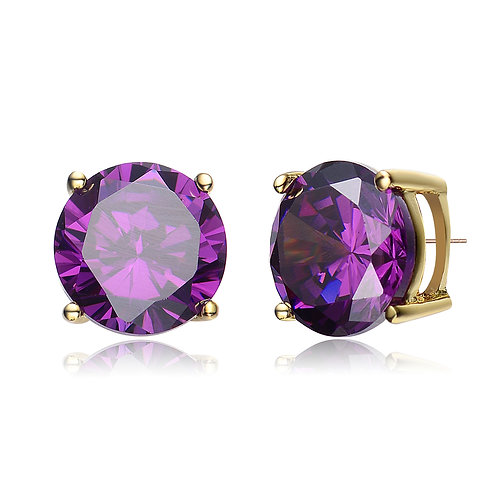 Gorgeous Amethyst Style Stud Earrings With Gold Toned CSE-EAR600-8MM-A-GP