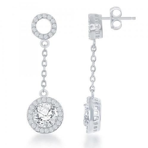 Sterling Silver Halo Style Drop Earrings TCE-D-6332