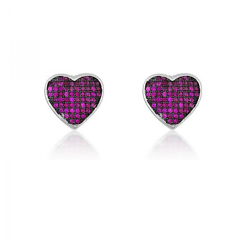 BLACK RHODIUM PINK CZ MICRO PAVE HEART EARRINGS D-5156